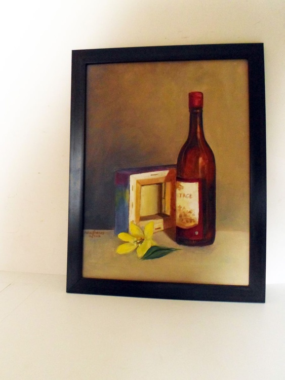 Still Life- Wine bottle and canvas - Image 0