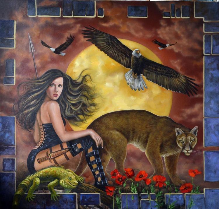 Amazon girl, Original oil on canvas, Free Shipping - Image 0