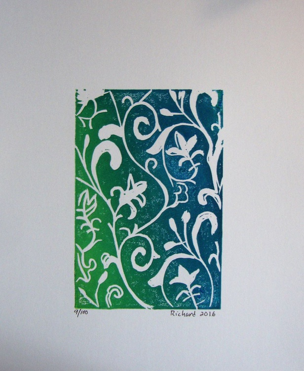 Arabesque en bleu, vert et jaune - Image 0