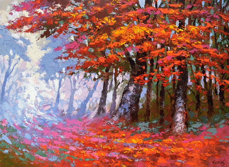 Scarlet autumn. 60cm x 80cm, 24 x 32 in. oil, acr, canvas, 2016 - Image 0