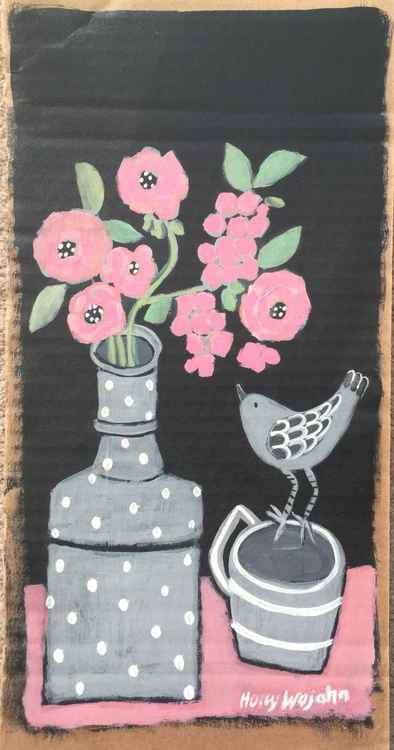 """Skinny  Still Life in Gray and Pink"" -"
