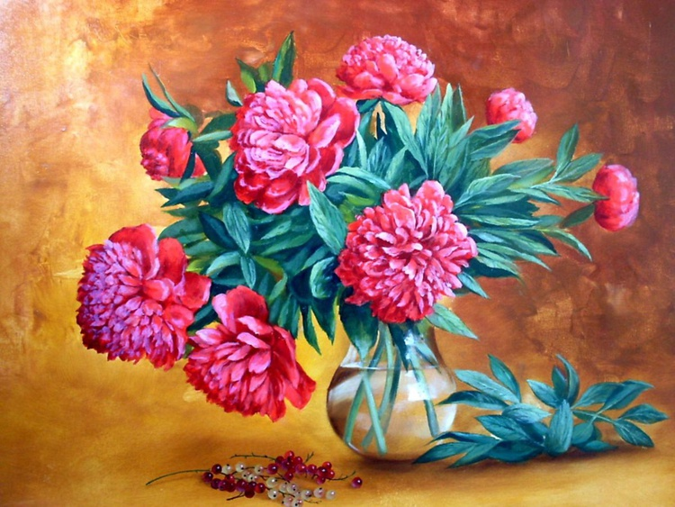 Red Pionies, Oil on canvas - Image 0