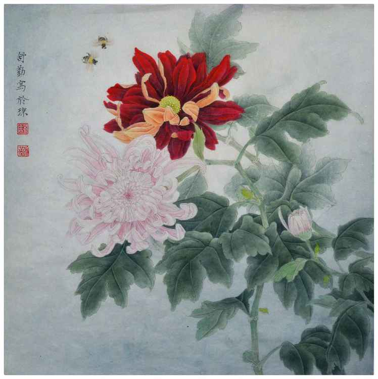Chrysanthemums in Golden Fall - Original Chinese Painting by Qin Shu