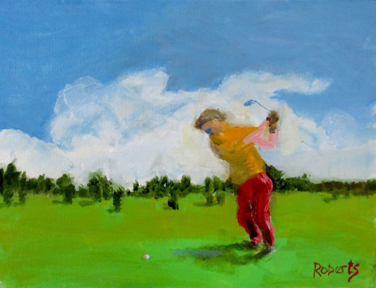 Lone golfer - Daily painting 62 - Image 0