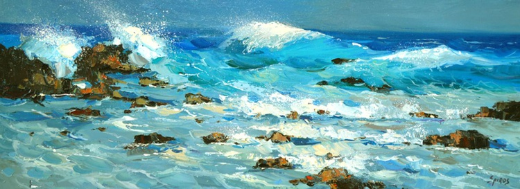 "Waves - Original Oil palette knife Painting, Size: 30cm x 80cm, (12""x 32"") - Image 0"