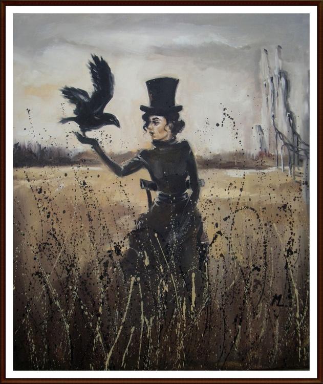 """ GIRL WITH RAVEN II ... - original oil painting, surrealism "" - Image 0"