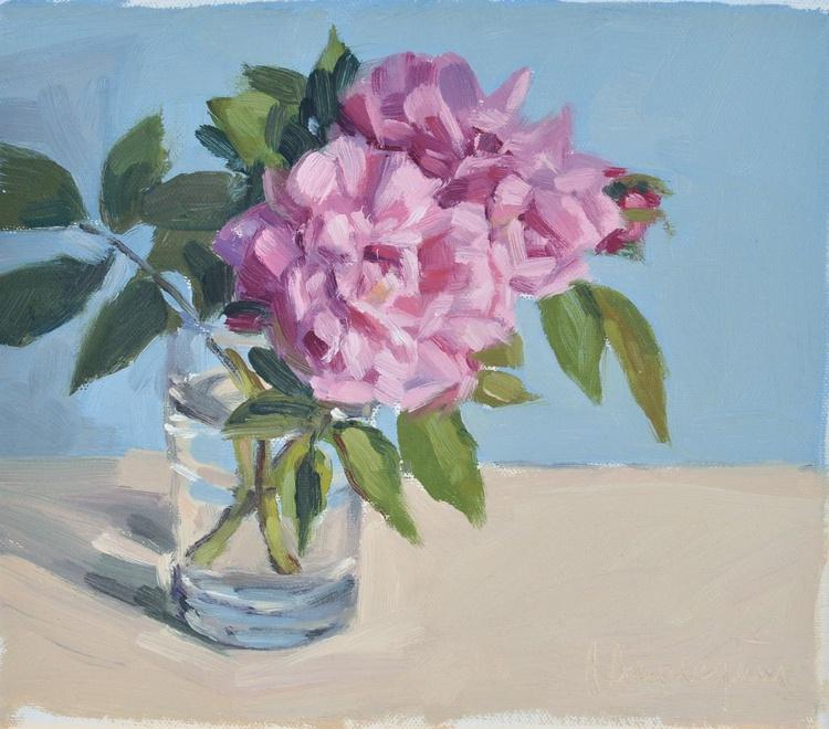 Roses I, blue background - Image 0