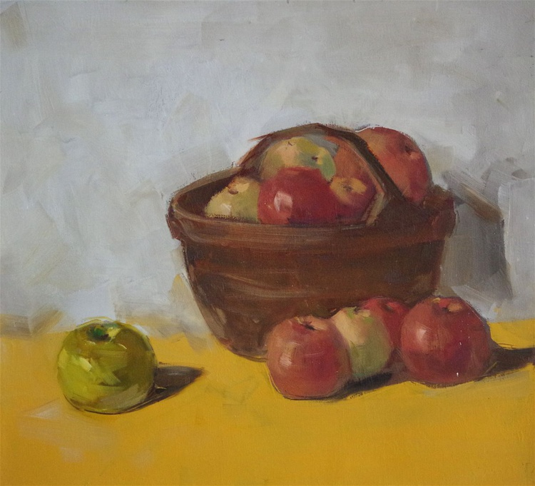 Still life with Apples, Original oil painting,  Handmade artwork, One of a kind Signed with Certificate of Authenticity - Image 0