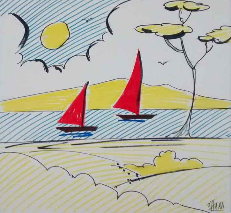 Red sailboats -