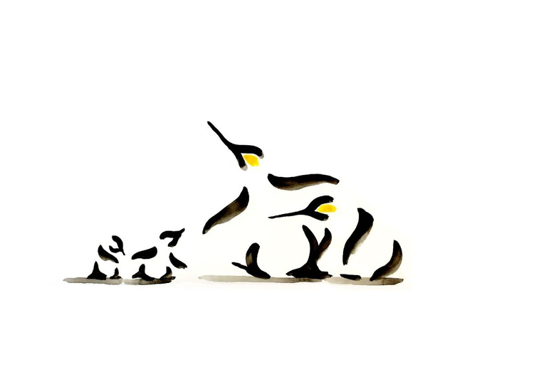 Two penguins and two chicks (70 x 50cm) - Image 0