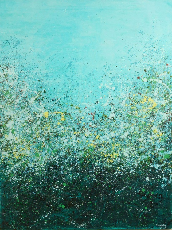 Potpourri 10 - Huge original floral abstract painting created in beautiful shades of yellow, teal and turquoise - Image 0