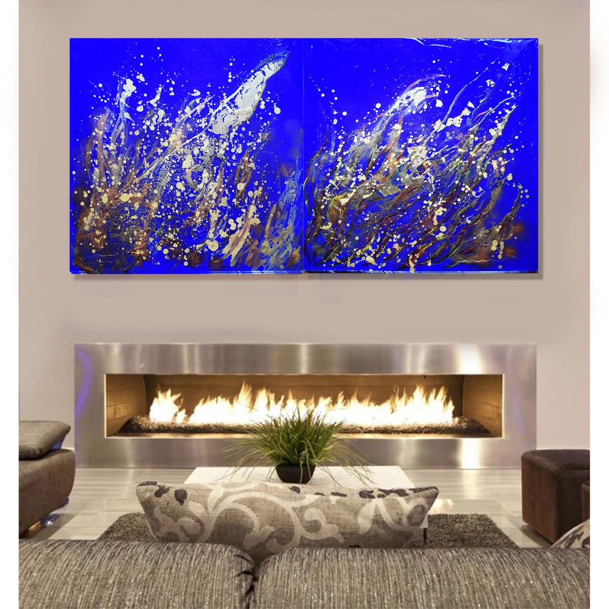 Flames 120 cm x 60 cm large abstract office home decor for Anna decoration in home