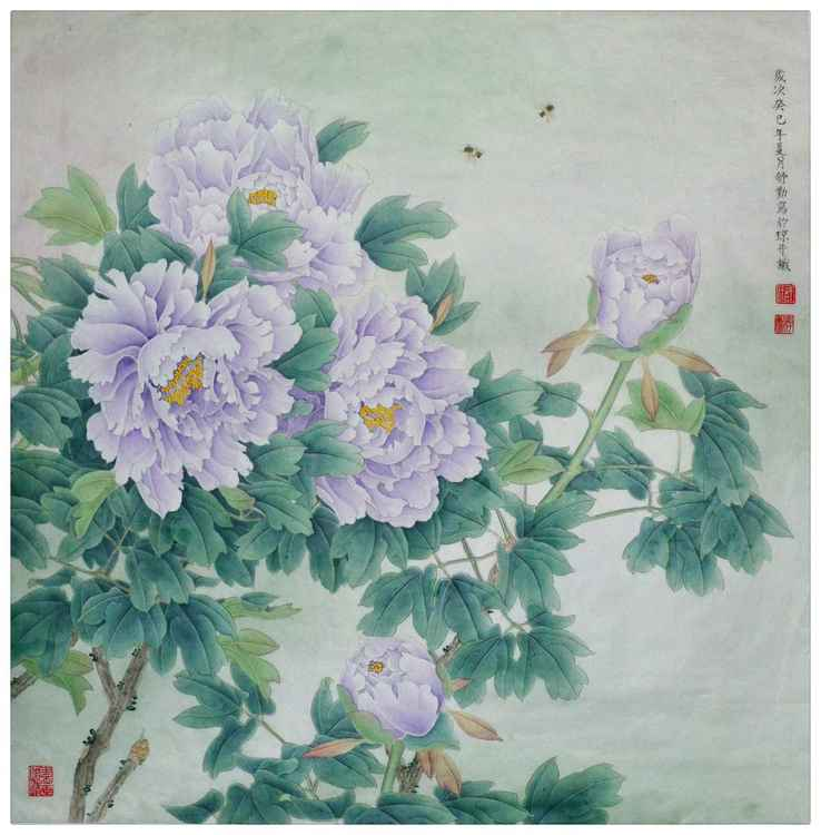 Purple Peony Original Chinese Gongbi Painting by Qin Shu