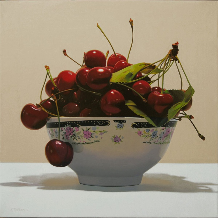 Cherries, Original oil on canvas painting - Image 0