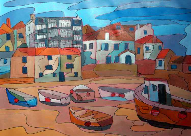St Ives harbour, low tide. -