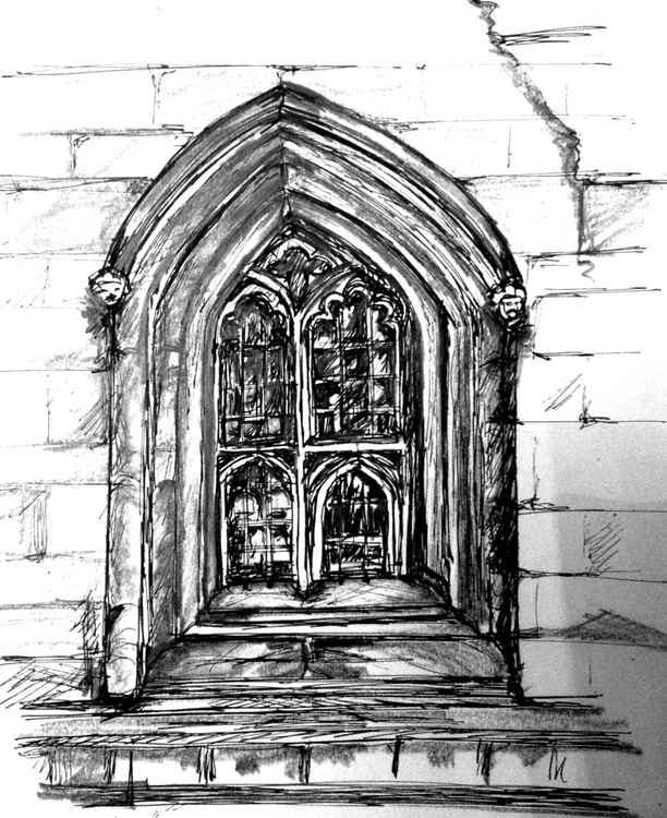 A window, King's College Cambridge, Original Drawing -