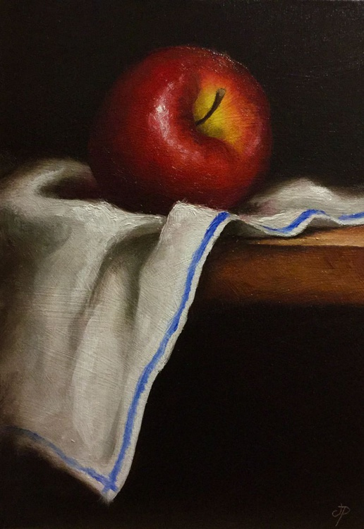 Red Apple on cloth - Image 0