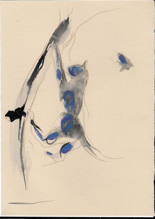 Cat chasing a bird, 15x21 cm - Image 0