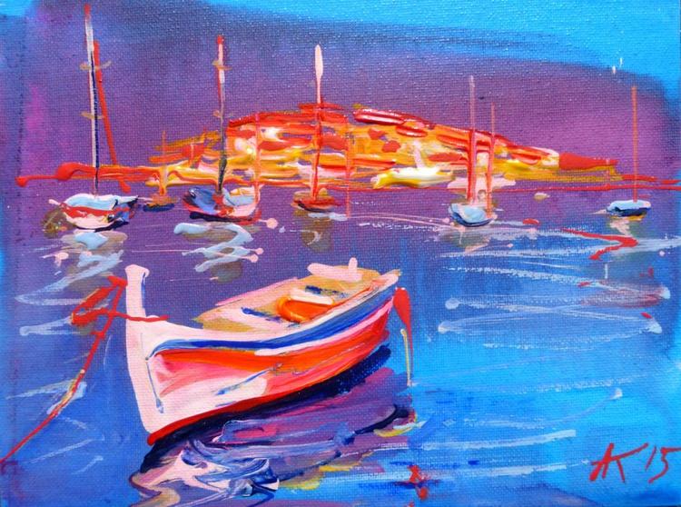 Boat, original painting 24x18 cm - Image 0