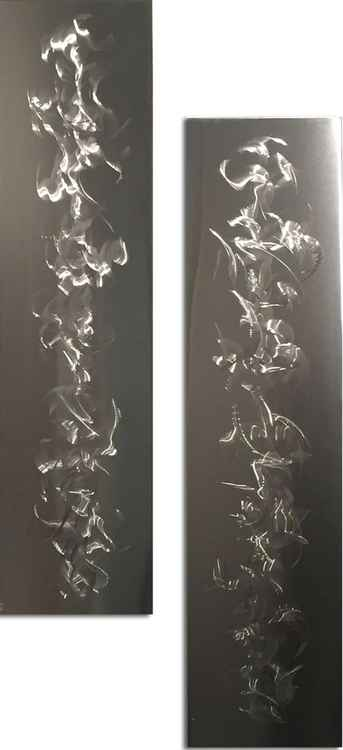 Stainless Steel Artwork 'The Fringe' Abstract Metal Art | Smokey Pattern Wall Décor by Nicholas Yust