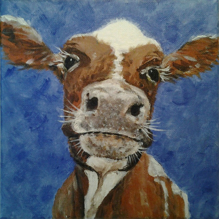 """GOO-OD MOO-ORNING"", acrylic on 20x20cm canvas of a cute cow - Image 0"