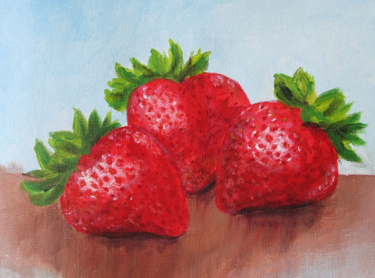 """THREE STRAWBERRIES"", Fruit, kitchen art, home decor, original acrylic pn canvas - Image 0"