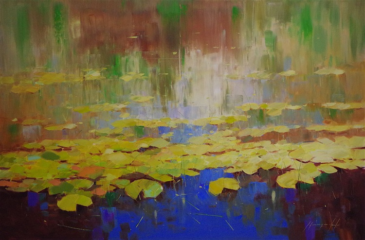 Waterlilies, Large Original oil Painting, Impressionism, Handmade artwork, One of a Kind, Signed with Certificate of Authenticity - Image 0