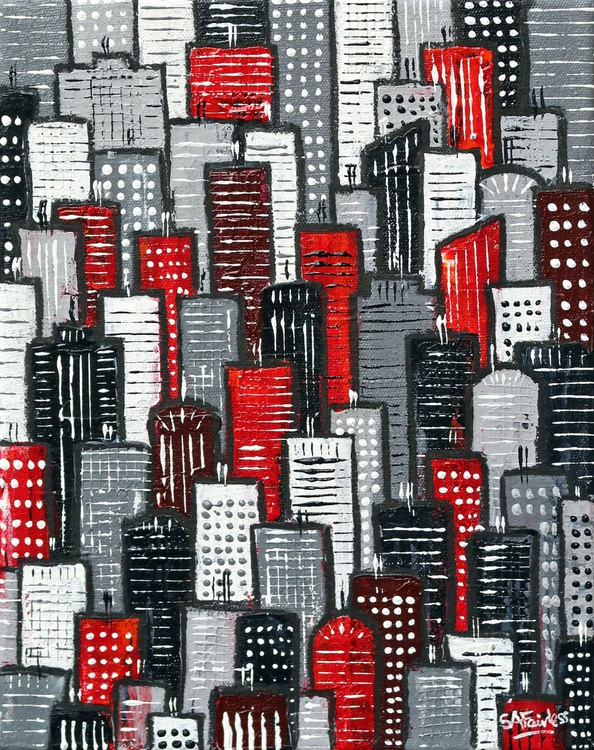 City Block Red and Grey - Image 0