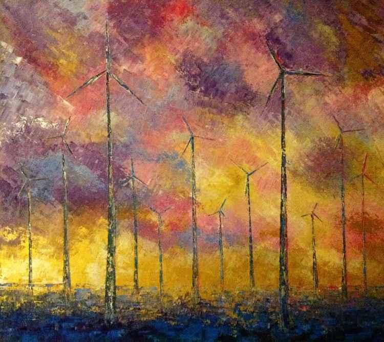 Windmills. Sky -