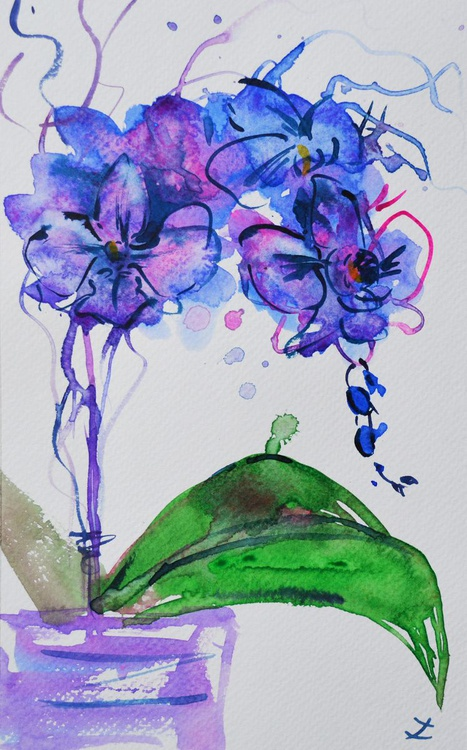 Colorful Orchids. Set of 2 paintings - Image 0
