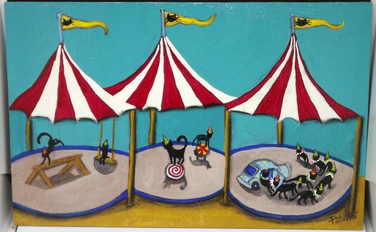 Black Cat Circus  Original Painting on Wood - Image 0
