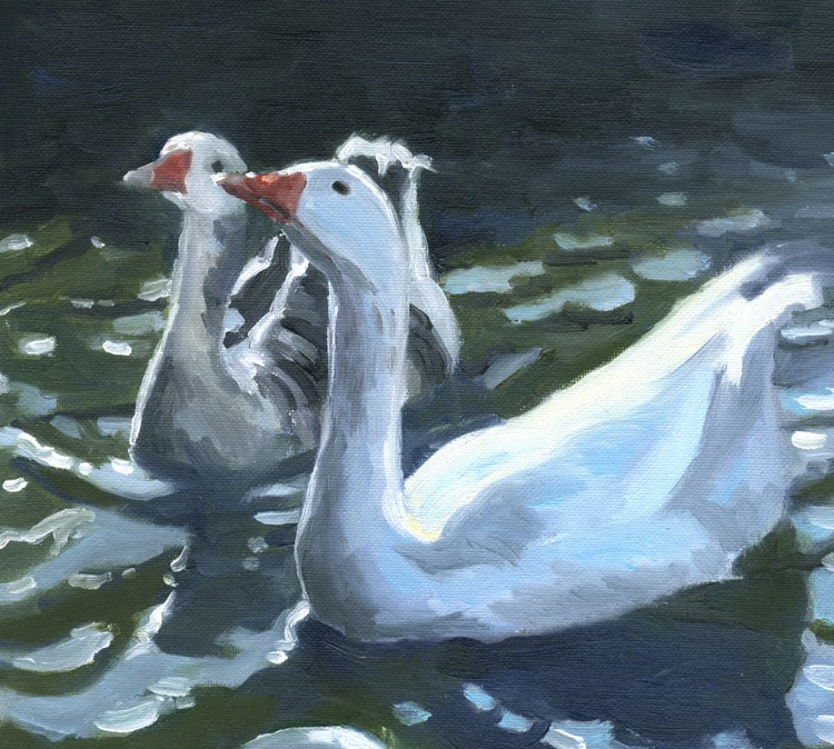 Double Trouble, Geese oil painting - Image 0