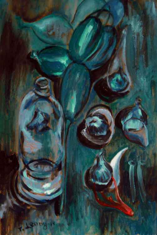 Still life with bottle, balloon and five figs -