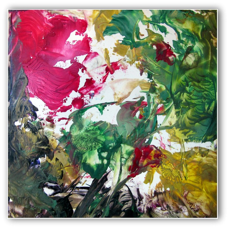 """Floral Fantasy""  12""x12"" inch Wax Painting on Artist Card Stock - - Image 0"