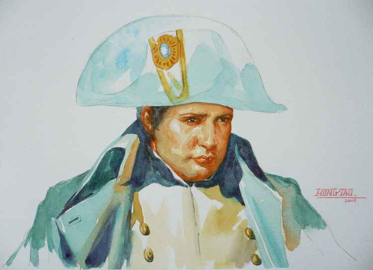 ORIGINAL WATERCOLOUR PAINTING ART PORTRAIT OF NAPOLEON ON PAPER#12-28-01