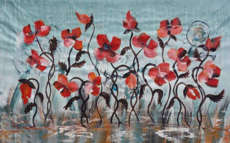 Poppies in the rain landscape 100x160 cm Large painting unstretched canvas art teal red by artist Ksavera - Image 0