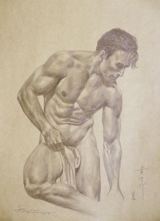 ORIGINAL DRAWING PENCIL  ART MALE NUDE MAN ON BROWN PAPER#16-6-17-02 - Image 0