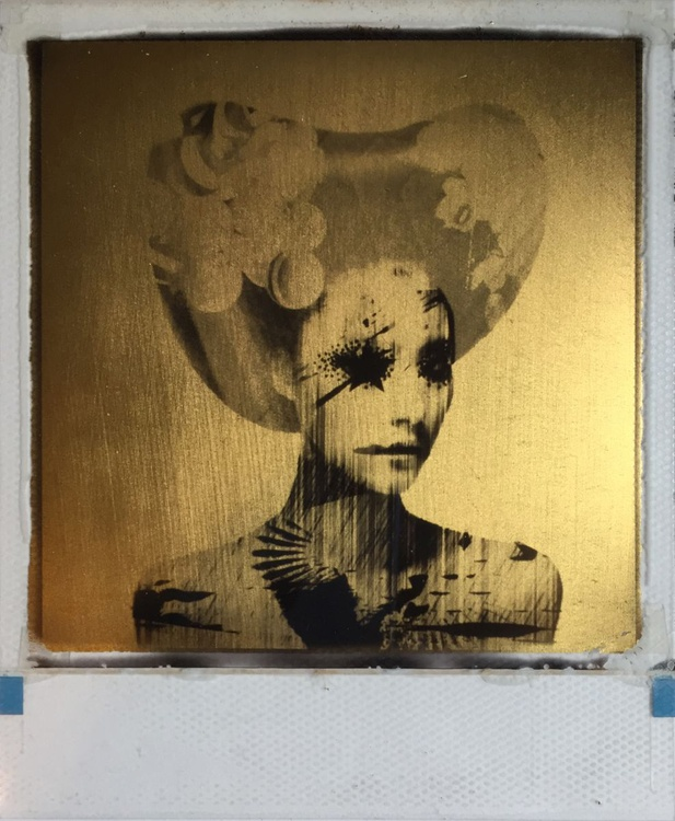 Last Kiss  24ct gold leaf Polaroid collage - Image 0