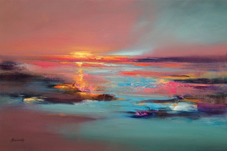 Silent Talks - 60 x 90 cm abstract landscape oil painting in soft pink and turquoise - Image 0