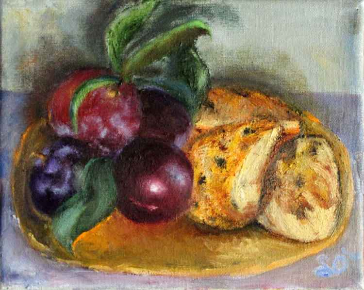 "Still life with plums and scones 8""x10"" (20.32x25.4cm)"