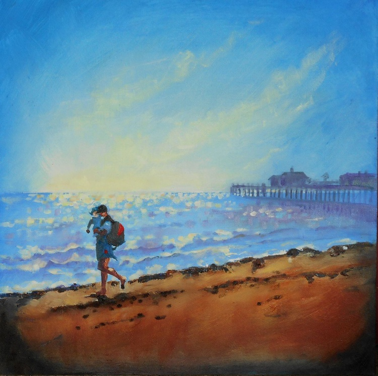 Man with Child Jogging on Southwold Beach - Image 0