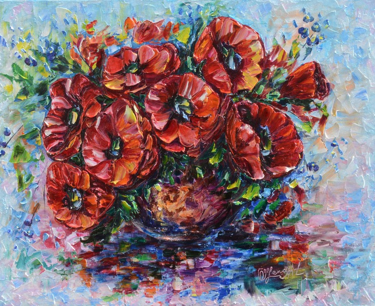 Poppies in Vase (Palette Knife) - Image 0