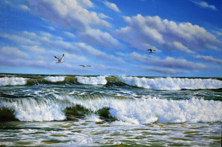 Sea breeze, Original oil on canvas, Free Shipping - Image 0