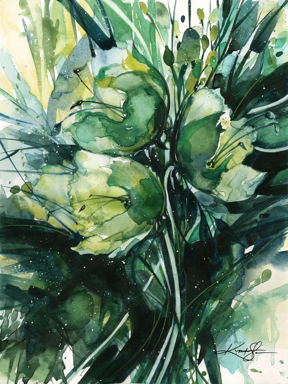 Green Bliss No. 3 - Flower Watercolor Painting - Image 0