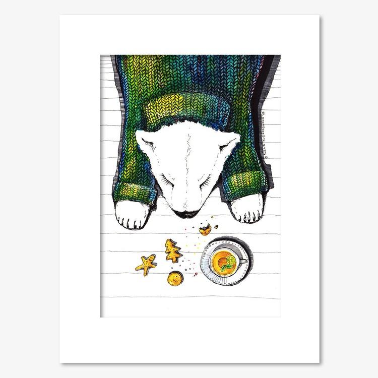 Cute sleeping white bear and ginger tea, original drawing - Image 0