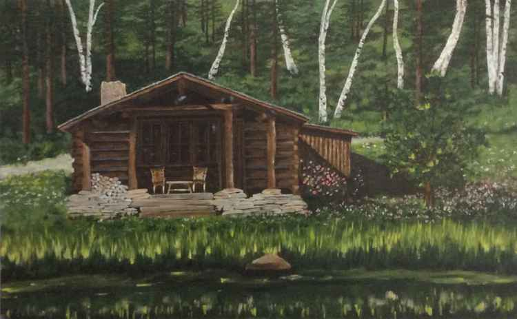 Log Cabin by the Lake Large Painting -