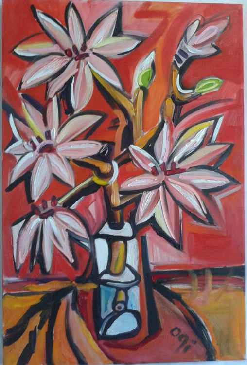 Magnolias in Glass - Red -