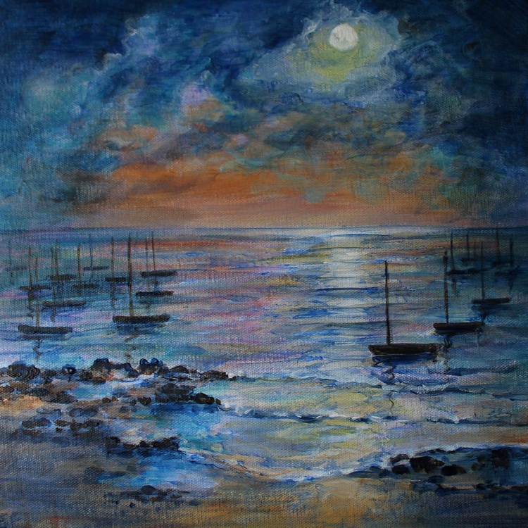 Boats Moored by Moonlight - Image 0
