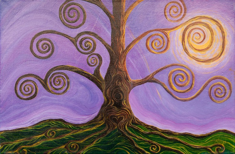 Spirale vitale - Albero surreale con radici e rami - Surreal tree with roots and branches - Image 0