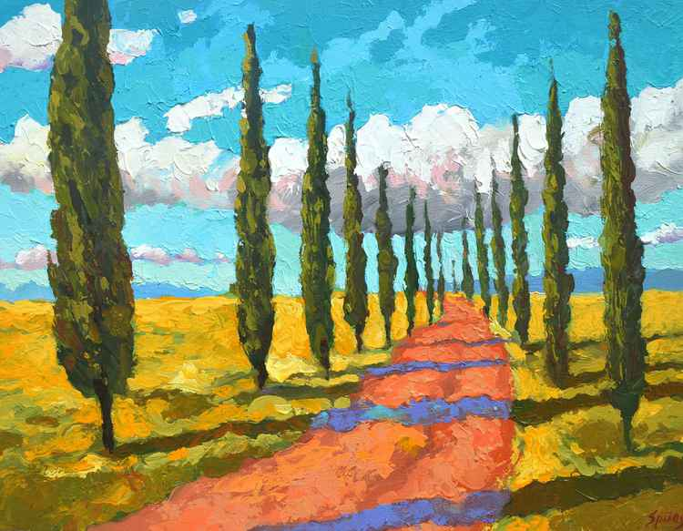 Cypresses in Tuscany. oil, acr, canvas, 2016